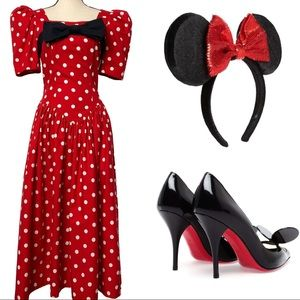 VTG 80's Ann Tobias Red Dot Minnie Mouse Dress